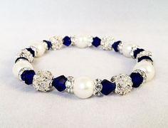Bridal or Flower Girl Bracelet Navy Crystal by PrissyPuppyJewelry, $10.00