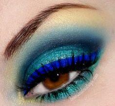 bright blue eyeliner.