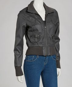 Take a look at this Charcoal Button Pocket Jacket by Yoki on #zulily today!
