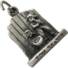 Vintage 3-D Tom Sawyer Charm, Missouri Mark Twain Charm Signed Bruce..