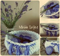 crocheted lavander hearts and appropriate bowl from recycled old shirts