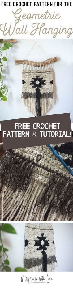 modern, boho crochet wall hanging tutorial. love the black and white tribal design!
