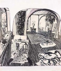 Works on Paper - Brett Whiteley - Page 4 - Australian Art Auction . Australian Painting, Australian Artists, Art And Illustration, Anime Comics, Line Drawing, Painting & Drawing, Art Auction, Art Sketchbook, Moleskine