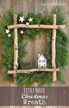 fensterdeko weihnachten Little House Christmas Wreath -full tutorial to make your own wreath from some gathered greens, birch logs, and a coat hanger. Perfect for Christmas. Noel Christmas, Rustic Christmas, Winter Christmas, All Things Christmas, Christmas Ornaments, Christmas Swags, Canadian Christmas, Christmas 2019, Christmas Lights