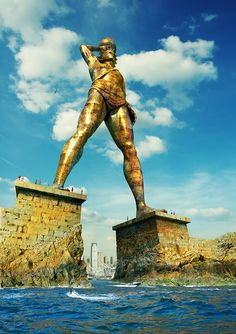 The Colossus of Rhodes Island, Greece- was built as a dedication by the Greeks to their Sun God. The statue collapsed during an earthquake but the ruins continued to attract visitors for more than 800 years. Ancient Words, Ancient Art, Ancient History, Art History, Ancient Greece, Ancient Egypt, Statues, Greek Titans, Statue En Bronze