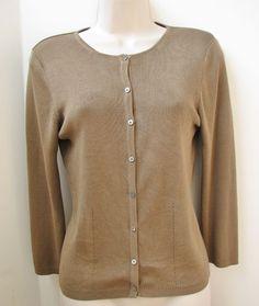 Banana Republic Women Brown Cardigan Sweater Silk S Long Sleeve #BananaRepublic #Cardigan #Work