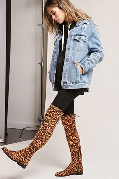 Product Name:Yoki Leopard Print Over-the-Knee Boots, Category:Shoes, Price:45