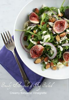 Smoky arugula & fig salad w/ creamy balsamic vinaigrette Fig Salad, Arugula Salad, Salad Bar, Soup And Salad, Savory Salads, Healthy Salad Recipes, Healthy Food, Eating Healthy, Vegan Food