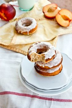 Peaches and Cream Baked Doughnuts