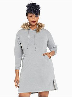 """Even though Cookie is the one who bosses around Porsha, this sweatshirt dress has HBIC vibes. The stretchy and silky soft heather grey jersey knit is laidback with side pockets and a drawstring hoodie. Faux fur trims the hood, making you look like the coolest assistant ever. Zips along the sides lend a sexy edge.<div><br></div><div><b>Model is 5'11"""", size 1<br></b><div><ul><li style=""""LIST-STYLE-POSITION: outside !important; LIST-STYLE-TYPE: disc !important"""">Size 1 measures 40"""" fr..."""