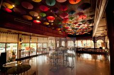 Umbrellas Hanging From The Ceiling At The Restaurant In Amari Rincome Hotel Chiang Mai Thailand