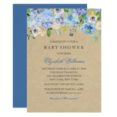Rustic Vintage Blue Floral  Boy Baby Shower Invite - invitations custom unique diy personalize occasions