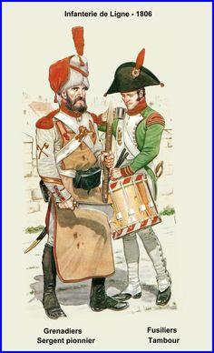 Infanterie de Ligne- Différents uniformes - 1806