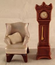 Vintage MINIATURE Arcadia Wing Back Chair & Grandfather Clock Salt & Pepper Shakers