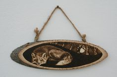 "Pyrography on a wooden slice - ""Sleeping Fox"" - Wood burning by SantoArt on Etsy"