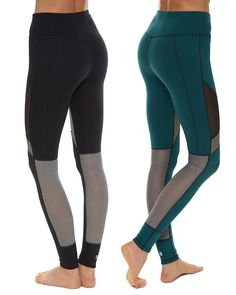 #sweatybetty reversible leggings in super soft, stretchy fabric with fashion-forward mesh panels, they stay fully opaque both teal and black side out. Adjust the inner drawcord for a custom fit.