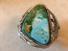 Beautiful Large green Turquoise bracelet made by Navajo royston