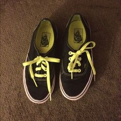 Lime green and black Vans!!  Used but still cute!! No major flaws. Need a good clean :) Vans Shoes Sneakers