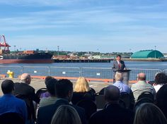 from @portsaintjohn  Minister Dominic Leblanc confirms funding commitment of $68 million from Government of Canada for #modernizepsj #ports #terminals.