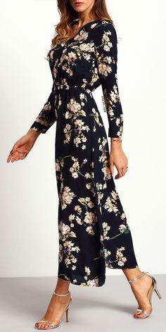 Navy floral dress. Very pretty.