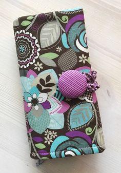 Brown Floral Crochet Hook Case Notions Zipper Pocket