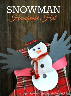 Easy winter handprint snowman headband with jingle bells by Crayon Box Chronicles. Contributor post at Preschool Spot.