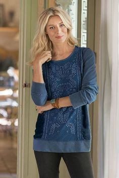 Available in three stunning jewel tones, our Collage Top is casual meets romance in a fabulous mixed-media. Featuring elaborate soutache, a mesh overlay elevates this look far beyond the basic sweatshirt or top! Middle Aged Women, Playing Dress Up, Fashion Details, Top Sales, Tunic Tops, Clothes For Women, Soft Surroundings, My Style, Womens Fashion