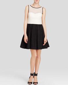 Aqua Dress - Sleeveless Color Block Fit and Flare