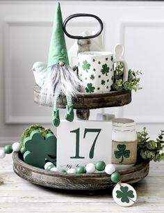 St Patrick's Day Decorations, St Patrick's Day Crafts, March Crafts, Christmas Mason Jars, Tiered Stand, Decorated Jars, Tray Decor, Seasonal Decor, Etsy