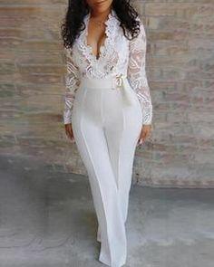 V-Neck Pleated Pant Jumpsuit – Changed Perceptionz Apparel Trend Fashion, Look Fashion, Fashion Brands, Fashion Online, Fashion Today, Fashion Styles, Womens Fashion, Street Style Rock, Boho Mode