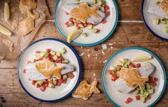 Baked mackerel with salsa and fishy crisps - William Drabble