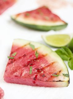 Grilled Watermelon with Lime & Mint @themerrythought