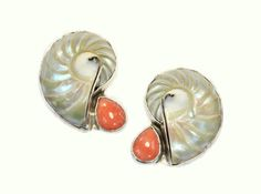 Nautilus Shell Clip Earrings with Coral