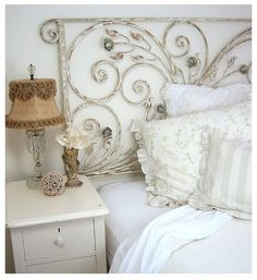 Shabby Chic Decor Easy Tips Tricks - Positively chic concept for a really first rate diy shabby chic headboard Ingenioustips posted on this creative day 20181210 , note reference 5158837497 Shabby Chic Bedrooms, Bedroom Vintage, Home Bedroom, Bedroom Decor, Wrought Iron Headboard, Vintage Headboards, Unique Headboards, White Decor, Beautiful Bedrooms