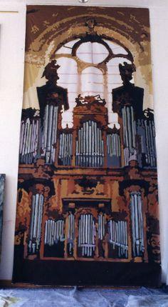 Grand orgue. Trompe-l'oeil réalisé pour l'église de Fresnes.