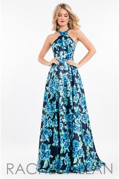 Rachel Allan 7572 is a floral print Matte Satin gown with a high neck, open back, and a high skirt slit. Stunning Prom Dresses, Floral Prom Dresses, Beautiful Summer Dresses, Pageant Dresses, Casual Dresses, Formal Dresses, Dress Outfits, Fashion Dresses, Moda Floral