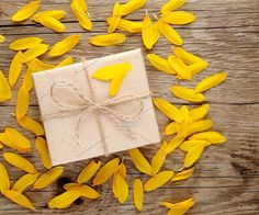 Sunflower petals and gift box. Holiday Photos