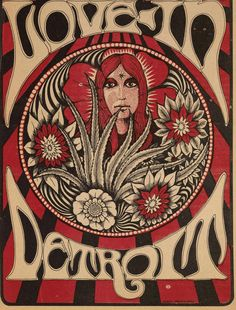 Detroit Love-In, April 1967 Classic rock music concert poster psychedelic ☮ ☮❥Hippie Style❥☮☮