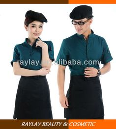 2013 summer fashion style short sleeve restaurant waiter and waitress uniform waitress shirt Cafe Uniform, Waiter Uniform, Hotel Uniform, Men In Uniform, Uniform Ideas, Restaurant Uniforms, Staff Uniforms, Polo T Shirts, Men Casual