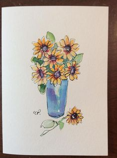 Vase of Sunflowers Watercolor Card / Hand Painted Watercolor Card This card is an original. Not a print. The card measures 5x7 and is blank inside. I have used ink and watercolor to create this card. It is painted on heavy card stock. This card would be lovely frame. This card is in