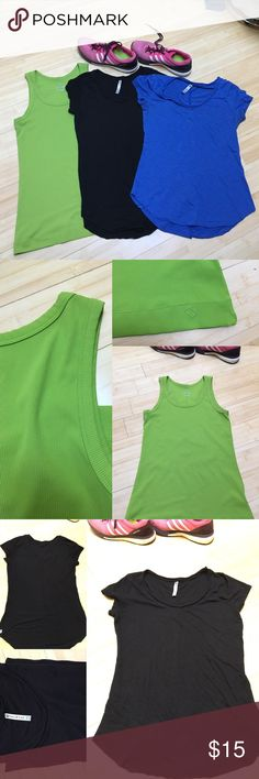 3-Pack of Workout Tops! 1️⃣Black top is XS Fabletics, longer in the center and higher on the waist. I've even worn this with jeans! 💯% cotton. 2️⃣ Blue top is the same description as above. 3️⃣Lime green moving comfort top, size small. This is one of my favorite running brands, their stuff lasts forever. This top is all synthetic and super soft and comfy. Lightly worn.🍁🍁🍁🍁🍁🍁Trying to clear out the workout tops since I just bought a bunch of new ones 💁🏻 **Great bundle that can make…