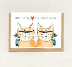 HAPPY VALENTINES.. We're PURRFECT Together . greeting card . cat cats . anniversary wife husband girlfriend boyfriend friendship . australia