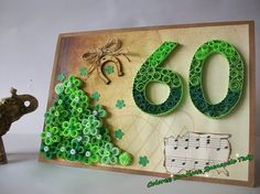 60th  Anniversary Quilling card Personalised 60th birthday