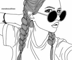 Fascinare: A Graphic Portfolio by Luhveli - Aesthetic Outline Edits - Wattpad Pretty Girl Drawing, Tumblr Girl Drawing, Tumblr Sketches, Girl Drawing Easy, Tumblr Drawings, Girl Drawings, Tumblr Hipster, B&w Tumblr, Hipster Girls