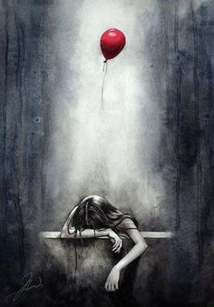 Illustration sadthis is how i feel sometimes and i am going to picture that red balloon as my sa… – illustration Arte Obscura, Sad Art, Sad Girl Art, Red Balloon, Illustration, Vampire Knight, Oeuvre D'art, Painting & Drawing, Amazing Art