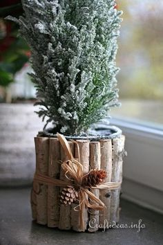 How to- Christmas Craft - Recycling With Cans - Natural Looking Flower Pot It is so easy to recycle cans into lovely natural flower pots for the holidays. Tin Can Crafts, Diy Arts And Crafts, Crafts To Do, Home Crafts, Holiday Crafts, Christmas Crafts, Christmas Ideas, Recycled Christmas Decorations, Tin Can Flowers