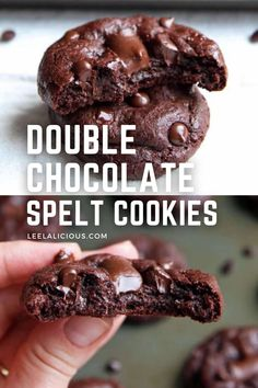 These Chocolate Spelt Cookies are better way to get your double chocolate cookie fix – they are made with coconut oil and no refined sugar. Healthy Chocolate, Chocolate Fudge, Homemade Truffles, Double Chocolate Chip Cookies, Spelt Flour, Cookie Recipes, Coconut Oil, Greek, Sugar