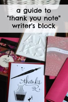 How to write a thank you note printable tags etiquette note and a guide to thank you note writers block negle Image collections