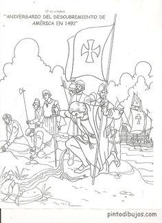 Dibujo de las tres carabelas de Cristobal Colón para