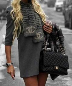 classic channel bag, and love the scarf <3 #staplepieces #classics #chanel